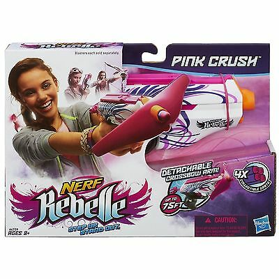 Nerf Rebelle Pink Crush Blaster Gun Toy 2 in 1 Blaster & Mini-Crossbow Dart Girl