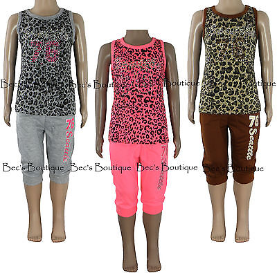 Girls Top & Cropped Trousers 2 Piece Sets Leopard Print Kids Clothes Ages 2-10Yr