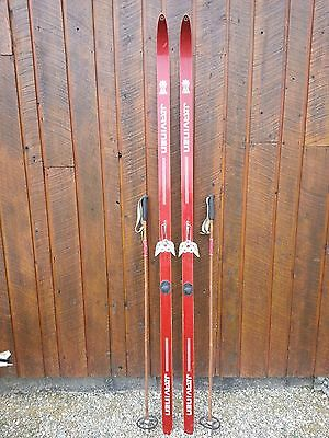 """VINTAGE Wooden Hickory 82"""" RED Skis Signed JARVINEN with Bamboo Poles"""