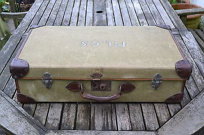VINTAGE green canvas and leather trimmed suitcase 1940s medium size dated 1945