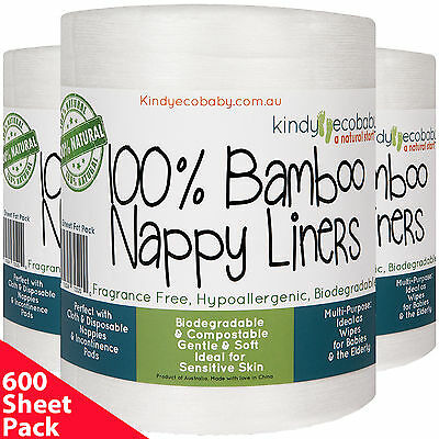 600 Flushable Bamboo Nappy Liners, Wipes,Biodegradable, alcohol free, baby safe