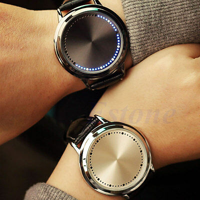 Fashion LED Digital Touch Screen Leather Band Couple Love Waterproof Wrist Watch