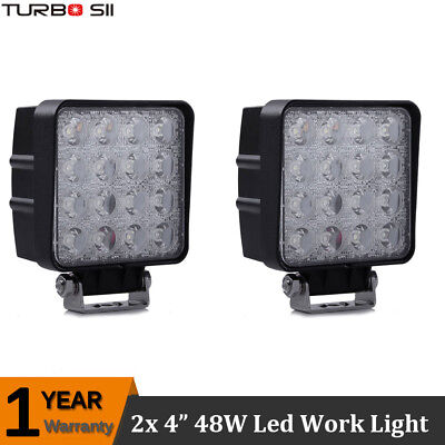 2X 48W Flood Lamp Led Work Light 4'' INCH Pods Tractor Truck Offroad 4WD SUV UTE