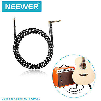 """Neewer 10ft Guitar Patch Instrument Cable with Right Angle 1/4"""" to Straight 1/4"""""""