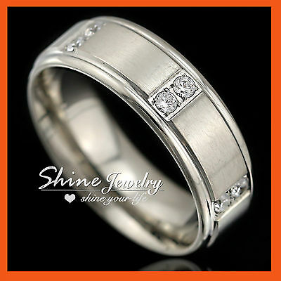 Mens Stainless Steel Created Diamond Silver Wedding Band Rings Jewelry Size 9-13