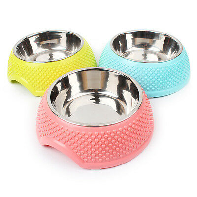 2016 New Double Stainless Steel Dog Cat Puppy Pet Bowl Non Slip Food Water 3 col