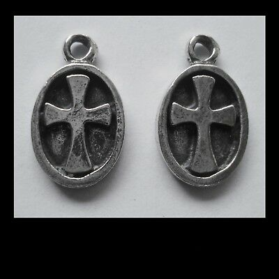 PEWTER CHARM #2336 x 2 CROSS in OVAL DISC (18mm x 12mm) 1 bail