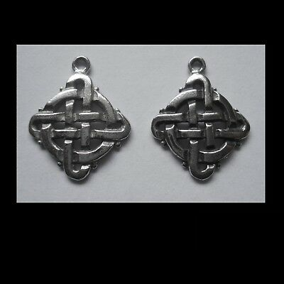 PEWTER CHARM #2342 x 2 CELTIC KNOT SQUARE (19mm x 15mm) 1 bail DIAMOND