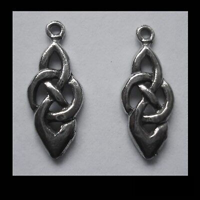 PEWTER CHARM #2344 x 2 CELTIC KNOT DROP (20mm x 8mm) 1 bail
