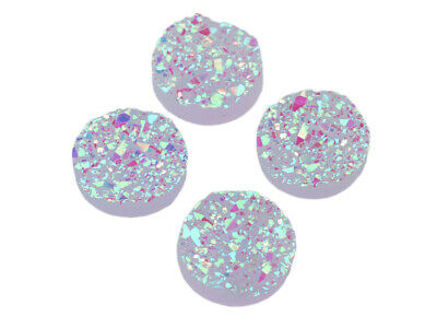 4 Cabochons in flieder, 12 mm, Eiskristalle, Resincabochons, Resin, Druzystyle