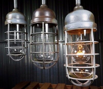 Vtg 1940s CROUSE HINDS VDA 2200 industrial barn factory pendant light cage EXC+