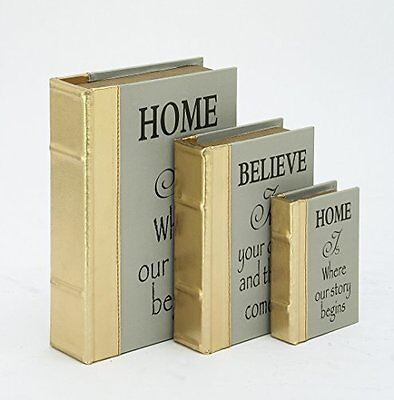 """DecMode 54053 Wood Leather Gold Book box Set Of 3  6""""  9""""  12"""" Height"""