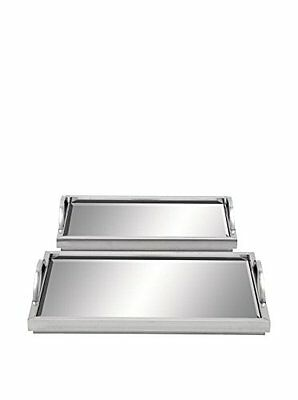 Deco 79 51744 Stainless Steel Mirror Tray (Set of 2)  18 by 16""