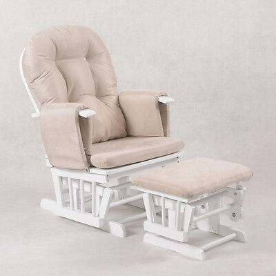 Baby Breast Feeding Sliding Glider Rocking Chair with Ottoman White Beige