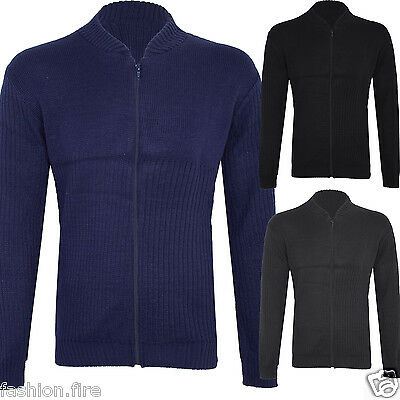 Men Gents Knit Zip Up Sweatshirt Plain Knitted Zipper Ribbed Jumper Cardigan Top