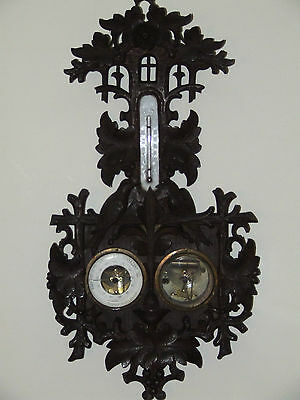 Antique 1800's German Weather Station Barometer with Hand Carved Birds & Flowers