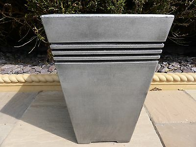 Tall Large Square Grey Resin Garden Planter Pot 30x30x45cm Indoor