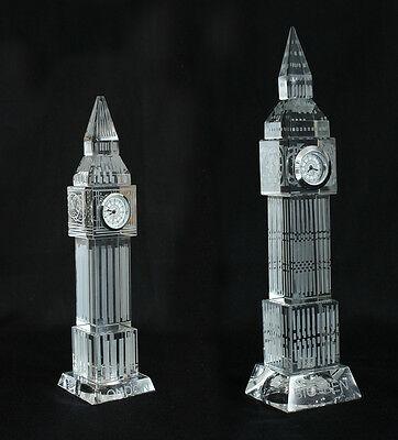 Big Ben Crystal Glass Clock 3D Laser Multi Lights London Souvenir Ornament UK