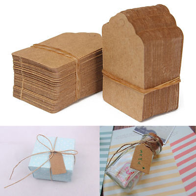 Vintage Blank Brown Kraft Paper Hang Tags Wedding Favor Label Gift Cards 100X