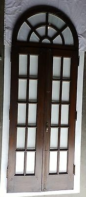 Antique Mahogany Pair French Doors Half Round Sunburst Transom Window Old 656-16