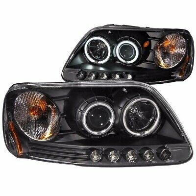 For 1997-2003 Ford F-150 1Pc Projector Halo Led Headlights Black Clear (Ccfl)