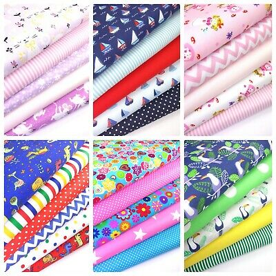 Children's Patterned Fabric bundles Fat Quarters Polycotton Material Kids Craft