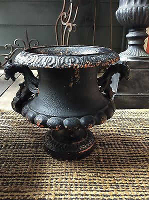 19th Century ALFRED CORNEAU French Cast Iron Urn Griffin Handles Garden Antique
