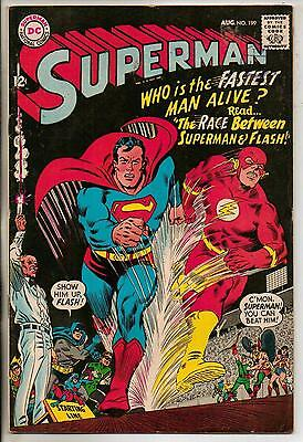 DC Comics Superman #199 August 1967 1st Superman Flash Race F+