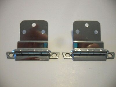 "Vintage CHROME Plated Steel Cabinet HINGES For 3/8"" Inset Doors Art Deco"
