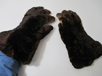 Antique Fur & Leather Coachman's Gloves - Leather Palms Patchwork Lining
