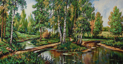 """46"""" Wall Decor Needlepoint Woven Painting Tapestry:summer Forest Landscpe"""