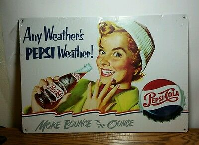"Vintage Reproduction Pepsi Co. ""Pepsi-Cola"" Wall Plaque/Sign New"