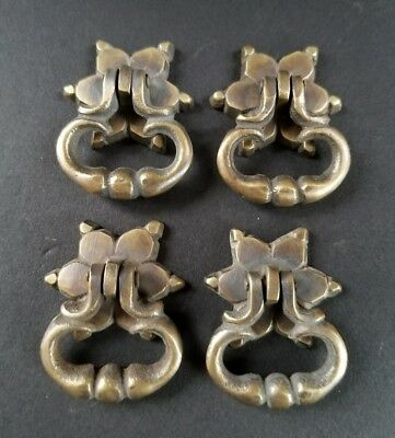 "4 Brass Handle Pulls with Ornate Drop Ring and Rosette Backplate  1 1/4"" #H14"