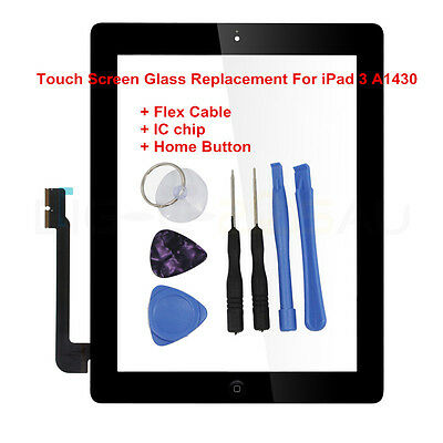 For iPad 3 A 1430 Touch Screen Glass Replacement with IC Chip+Home button Black