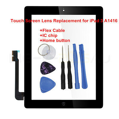For iPad 3 A 1416 Touch Screen Glass Replacement with IC Chip+Home button Black