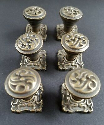 "6 Ornate Art Nouveau style brass knobs with 1"" back  plates #K5"
