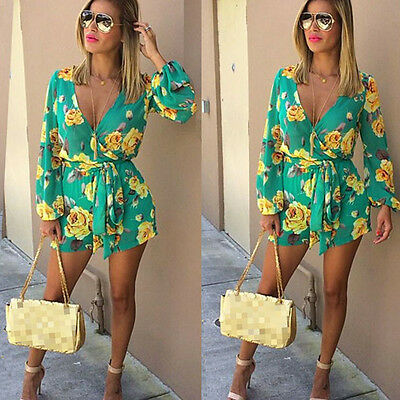 Women Ladies Floral Clubwear Playsuit Bodycon Party Jumpsuit Romper Trousers New