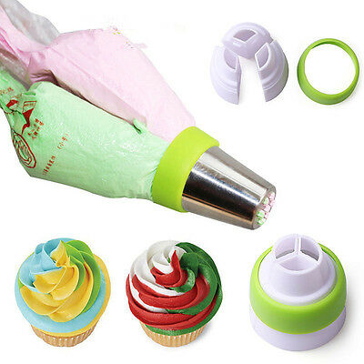 3-Colored Icing Piping Nozzle Converter Coupler Cake Buttercream Decorating Hot