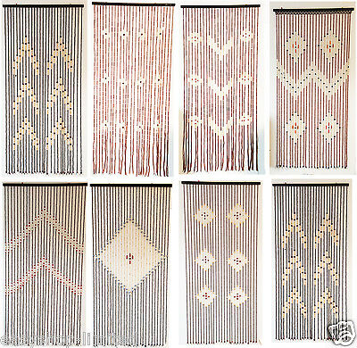 Natural Bamboo Beaded Door Curtain Fly Bug Screen Doorway Handmade Hanging Blind