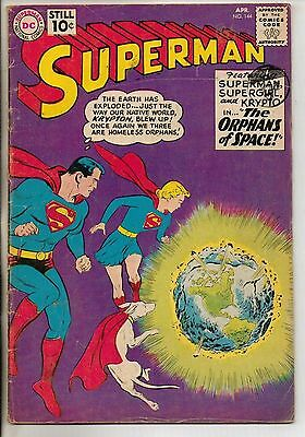 DC Comics Superman #144 April 1961 Supergirl & Krypto VG