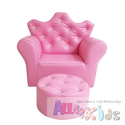 Brand New Pink Princess Crown Kids Toddler Sofa Couch with matching Stool
