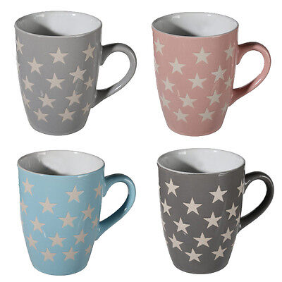 Set Of 4 Star Mugs Coffee Tea Stoneware Mug Cup Drinking Gift Kitchen Chocolate
