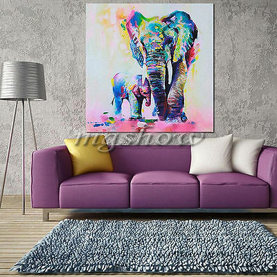 Watercolor Elephant HD Unframed Canvas Painting Decor Wall Art Picture Poster