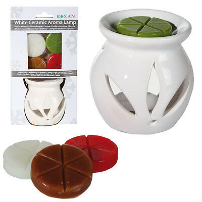 Oil Burner + 4 Scented Melts Wax Tealight Candle Tarts Ceramic Gift Set Aroma