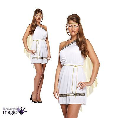 New Ladies Greek Goddess Roman Toga Hen Fancy Dress Costume Outfit Size 8 10 12