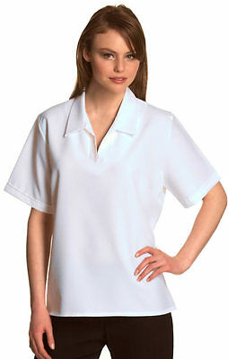 Ladies Bowls Wear Blouse White Open V-neck Lawn Bowling Sports Wear Top