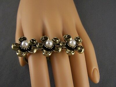 Double 2 two finger cocktail ring antiqued gold tone flower faux pearl bead