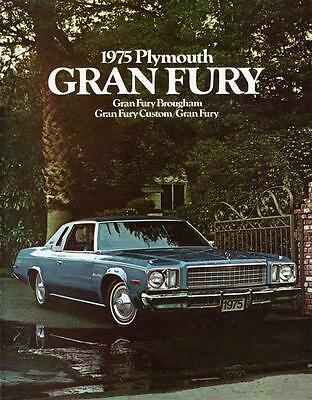 Old Print.  Blue 1975 Plymouth Gran Fury Brougham Auto Ad