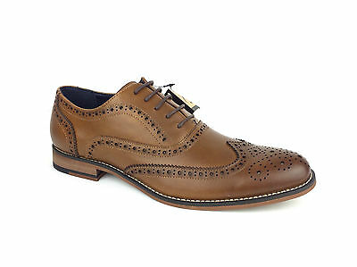 Mens Leather Upper Wedding Smart Brogue Dress Formal Office Lace up Tan Shoes