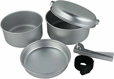 5 Piece Portable Camping Cook Cooking Cookware Set Aluminium Pots Pans